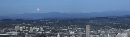 Harvest Full Moon Rise Over Portland Oregon Cityscape and Mount Hood Cascade Range Panorama photo