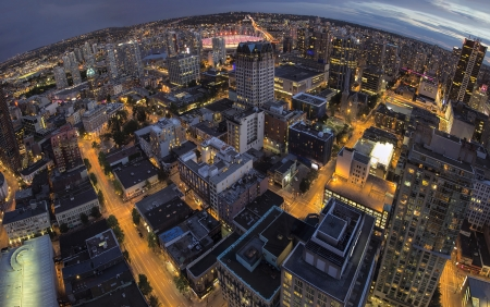 Vancouver BC Canada Downtown at Blue Hour Fisheye View Stock Photo - 22708773