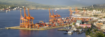 Port of Vancouver BC Canada with Ships Cranes and Cargo Containers Panorama photo