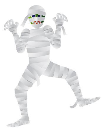Halloween Mummy Cartoon Isolated on White