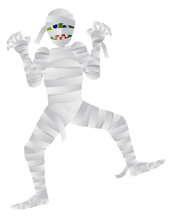 mummified: Halloween Mummy Cartoon Isolated on White