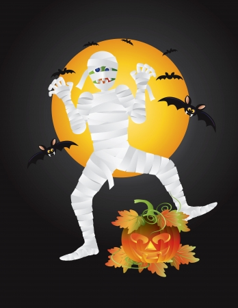 bandages: Halloween Mummy with Carved Jack-O-Lantern Pumpkin with Moon and Bats Illustration