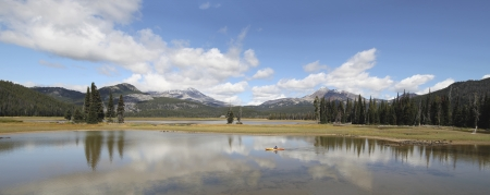oregon  snow: Sparks Lake in Deschutes National Forest Oregon with Three Sisters Mountains and Water Reflection Panorama