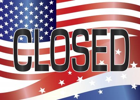 estados unidos bandera: Apagar Gobierno Muestra cerrada con barras y estrellas y la bandera de EE.UU. ilustraci�n de fondo