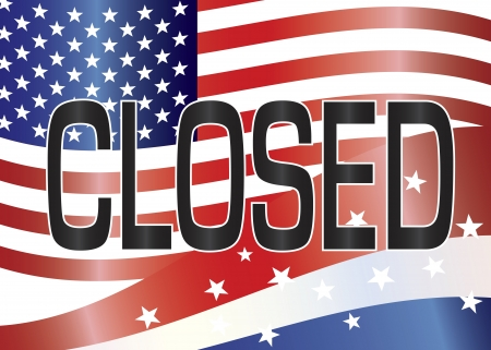 shutdown: Government Shutdown Closed Sign with Stars and Stripes and US Flag Background Illustration