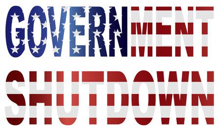 senate: Government Shutdown Text Outline with American USA Flag Silhouette Illustration