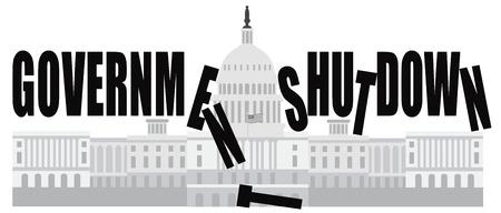 shutdown: Washington DC US Capitol Building Government Shutdown Illustration