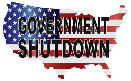 shutdown: Government Shutdown Text Outline with American USA Flag in Country Map Silhouette Illustration