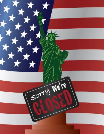 shutdown: Government Shutdown Statue of Liberty with Sorry We Are Closed Sign on USA American Flag   Illustration