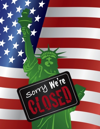 Government Shutdown Statue of Liberty Closeup with Sorry We Are Closed Sign on USA American Flag