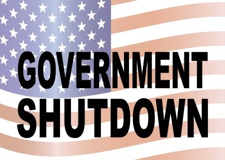shutdown: Government Shutdown Text Outline Faded US Flag Background Illustration
