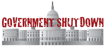 capitol hill: Washington DC US Capitol Building Government Shutdown Red Text Outline Illustration