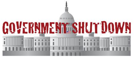 shutdown: Washington DC US Capitol Building Government Shutdown Red Text Outline Illustration