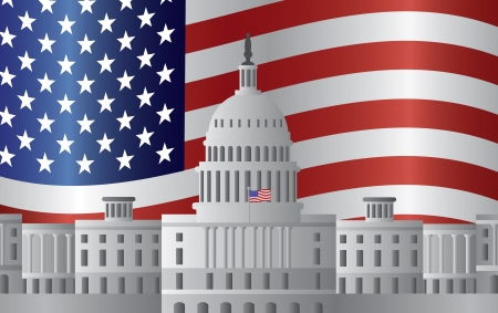 president of the usa: Washington DC US Capitol Building with US American Flag Background Illustration