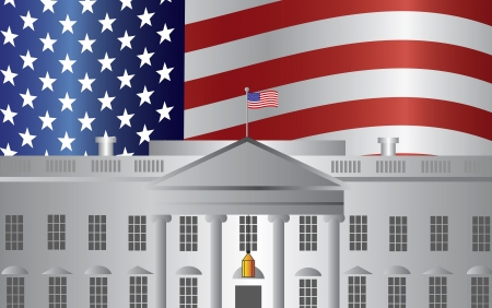 president's: Washington DC President White House Building with US American Flag Background Illustration Illustration