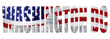 congresses: Washington DC Text Outline Silhouette with US Capitol Building with US American Flag Background Illustration