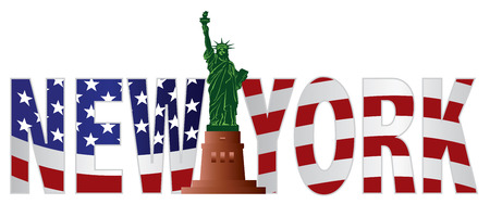 liberty island: New York Text Outline Silhouette with Statue of Liberty and US American Flag Background Color Illustration