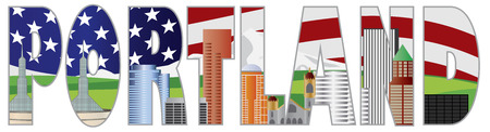 portland: Portland Oregon Text Outline Silhouette with City Skyline Downtown with US American Flag Background Illustration
