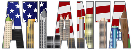 georgia flag: Atlanta Georgia City Skyline Text Outline with USA Flag Background Silhouette Color Illustration