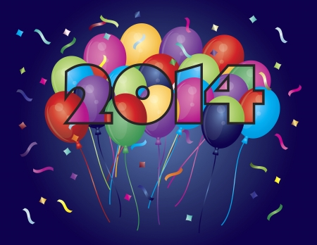 Colorful Balloons in 2014 Numeral Silhouette Outline with Confetti Illustration