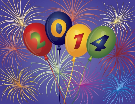 Happy New Year 2014 Balloons with Fireworks Display Background Illustration Vector