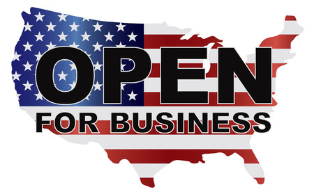 senate: Government Shutdown Open For Business Text Outline with American USA Flag in Country Map Silhouette Illustration