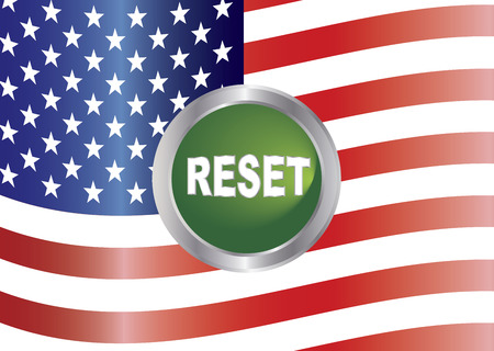 senate: Government Shutdown Reset Button with US American Flag Background Illustration