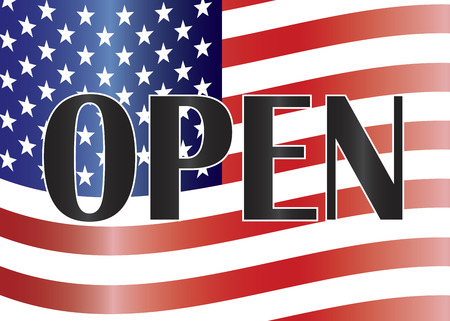 shutdown: Government Shutdown Open Text Outline Sign with US American Flag Background Illustration