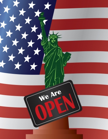 federal states: Government Shutdown Statue of Liberty with We Are Open Sign on USA American Flag Background Illustration