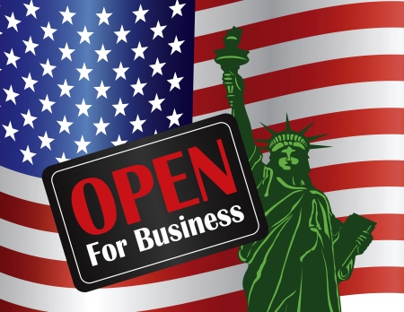 shutdown: Government Shutdown Open For Business Sign with Statue of Liberty with USA American Flag Illustration Illustration