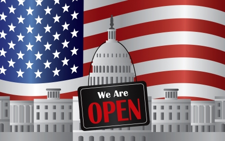 us government: Washington DC US Capitol Building with We are Open Sign on US American Flag Background Illustration Illustration