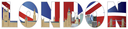 Palace of Westminster Houses of Parliament with Big Ben Clock Tower London Skyline in London Text Outline Illustration Vectores