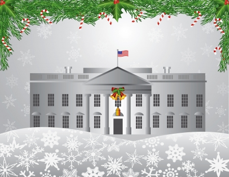 capitol hill: Washington DC White House Building with Garland Candy Cane Holly Berries on Snowflakes Background Illustration
