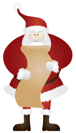 naughty or nice: Santa Claus with Christmas Naughty and Nice List Cartoon Isolated on White Background Illustration