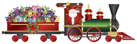 tren caricatura: Papá Noel que suena Bell en tren Entrega de los presentes envueltos aislados sobre fondo blanco Ilustración