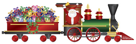christmas gifts: Santa Claus Ringing Bell on Train Delivering Wrapped Presents Isolated on White Background Illustration