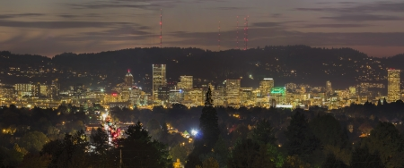 Portland Oregon Downtown City Skyline Lights Up at Dusk Panorama photo