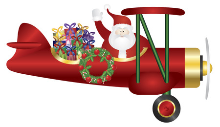 biplane: Santa Claus Waving on Biplane Delivering Wrapped Presents Isolated on White Background Illustration