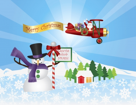 airplane: Santa Claus in Biplane Flying Over Winter Snow Scene with Snowman House Trees and Stop Sign Illustration