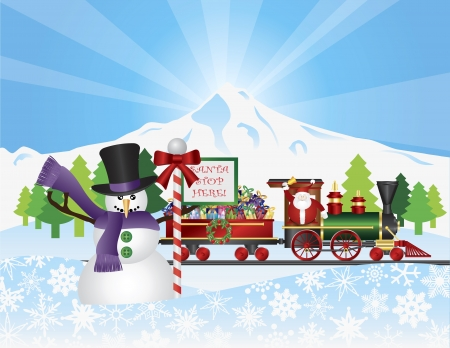Santa Claus on Vintage Train with Winter Snow Scene with Snowman House Trees and Stop Sign Illustration Vector