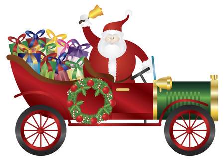 car ornament: Santa Claus Ringing Bell in Vintage Car Delivering Wrapped Presents Isolated on White Background Illustration