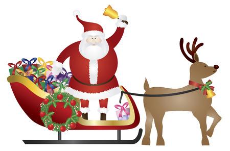 papa noel: Santa Claus suena Bell en trineo tirado por renos entrega envuelto presenta aislado en fondo blanco Ilustración