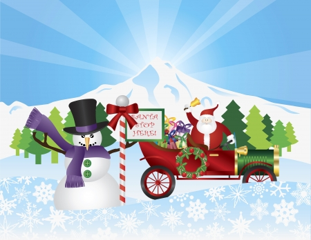 Santa Claus on Vintage Car with Winter Snow Scene with Snowman Trees and Stop Sign Illustration Vector