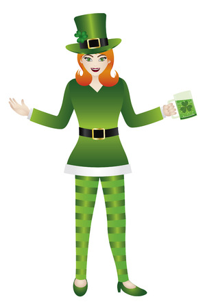 female leprechaun: Female in Green Leprechaun Costumes Standing with a Glass of Beer for St Patricks Day Isolated on White Background Illustration
