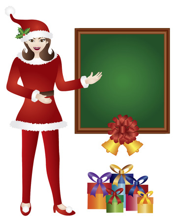 santa suit: Girl in Red Santa Suit Standing with Chalkboard and Presents Isolated on White Background Illustration