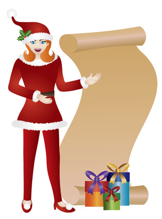 santa suit: Girl in Red Santa Suit Standing with Scroll List and Presents Isolated on White Background Illustration