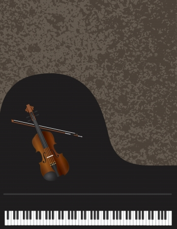 Grand Piano Keyboard and Violin Musical Instruments on Texture Background