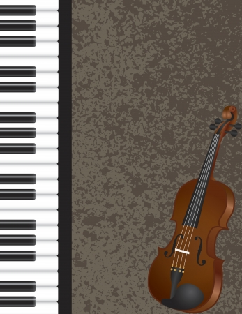 Piano and Violin Musical Instrument with Textured Background Illustration Vector