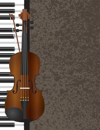 피아노와 질감 배경 일러스트 레이 션을 가진 바이올린 활 악기