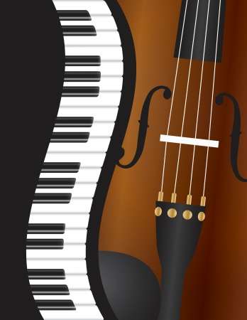 viola: Piano Keyboards Wavy Border with Violin Closeup Background Illustration Illustration